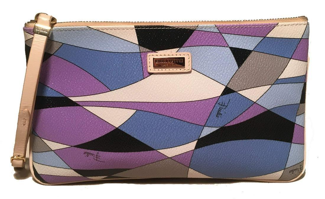 Emilio Pucci Purple Blue Black and White Print Leather