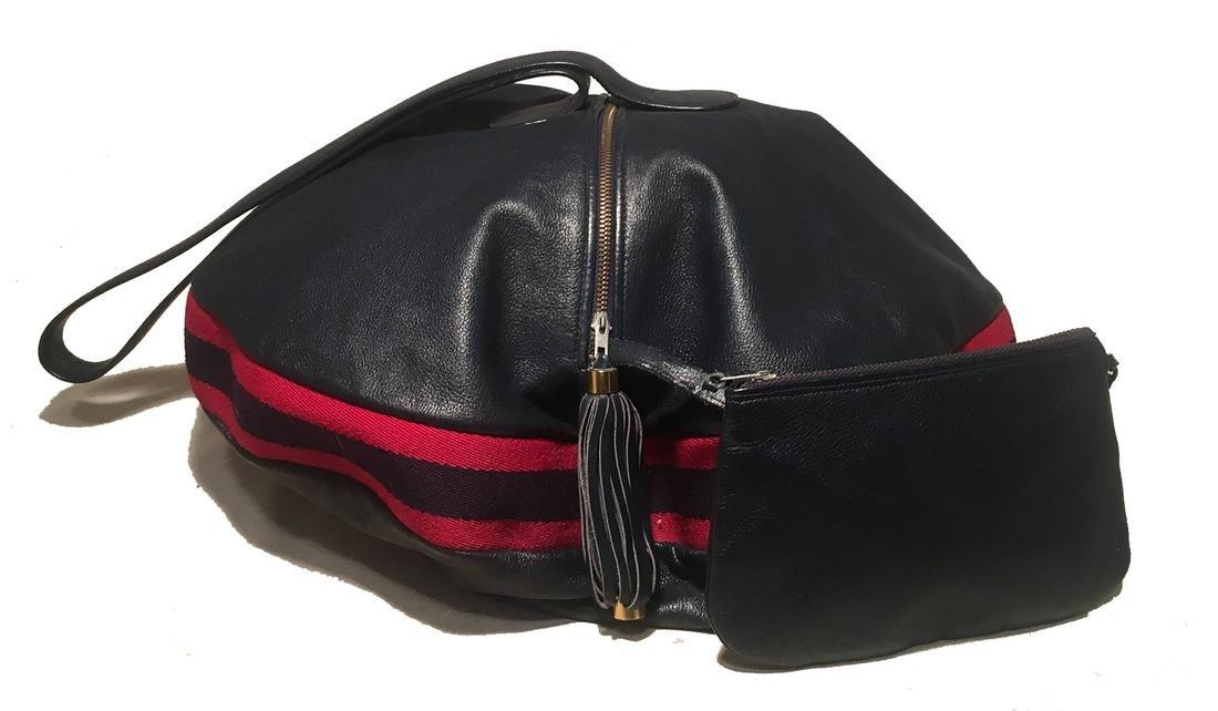 Rare Gucci Vintage Navy Leather Striped Canvas Shoulder