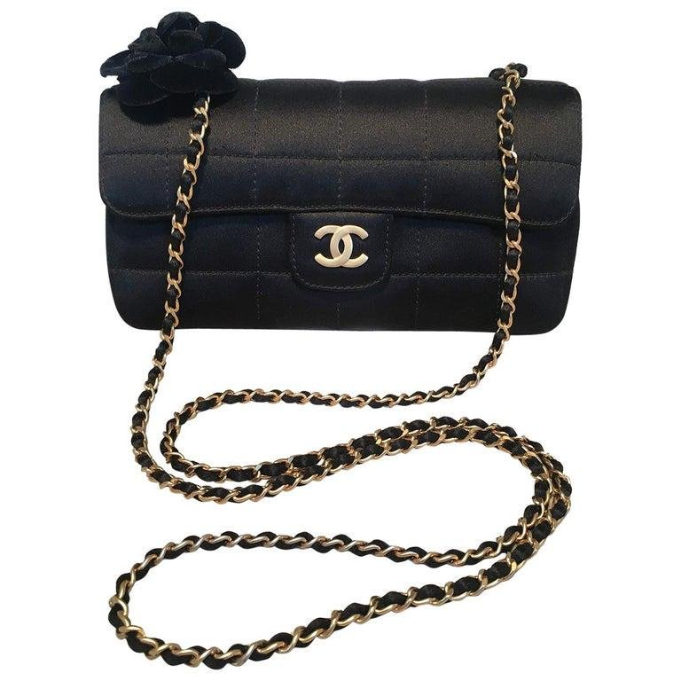 Chanel Quilted Black Silk Mini Camellia Classic Flap