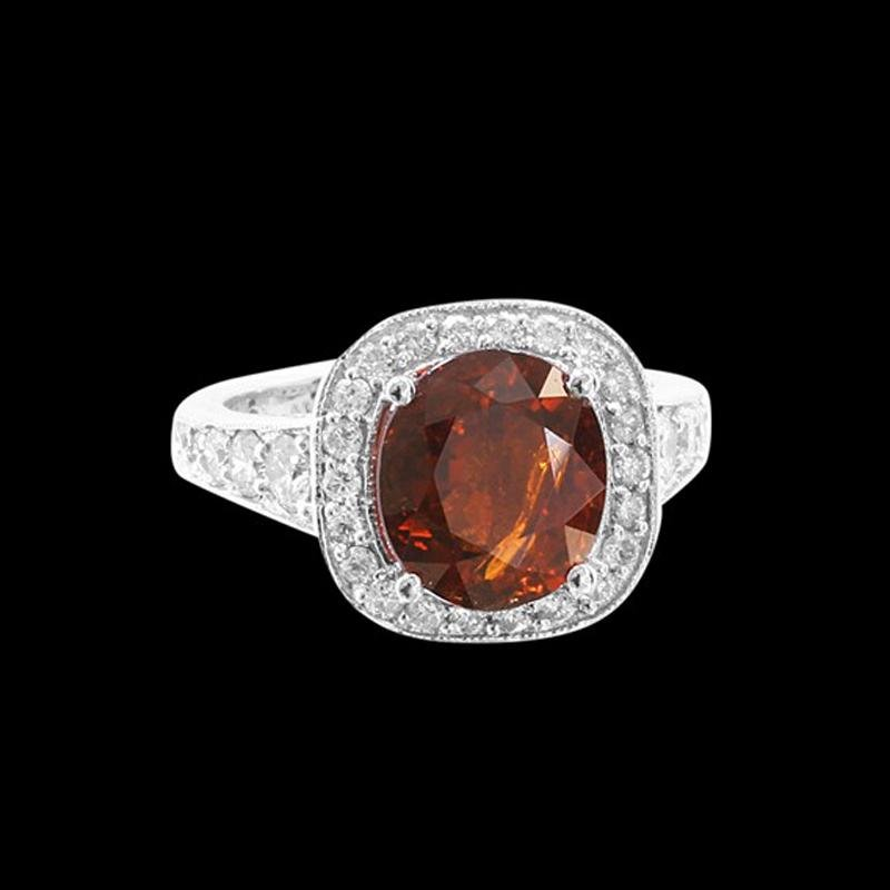 4.30CT NATURAL MALAYA GARNET 14K WHITE GOLD RING