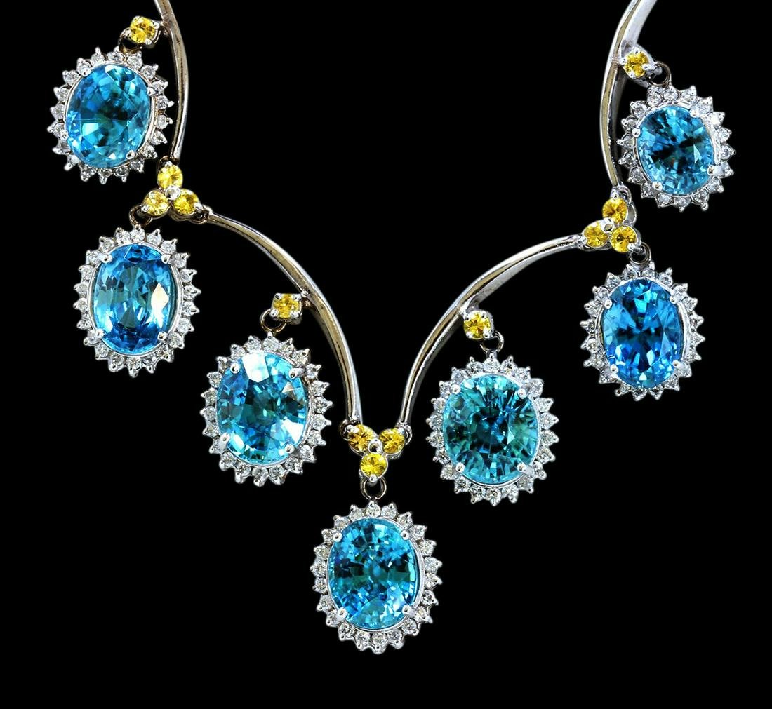 39.66CT NATURAL BLUE ZICRON 14K WHITE GOLD NECKLACE