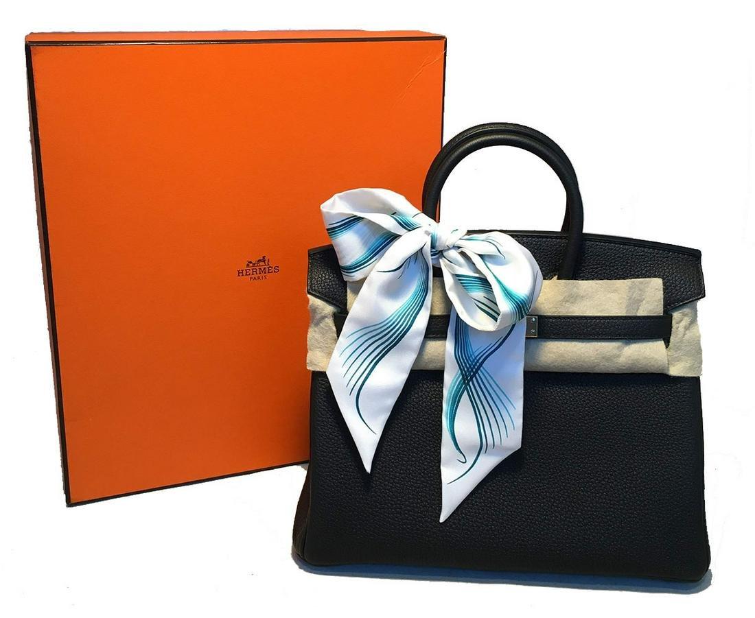 Hermes Black Clemence 25cm GHW Birkin Bag
