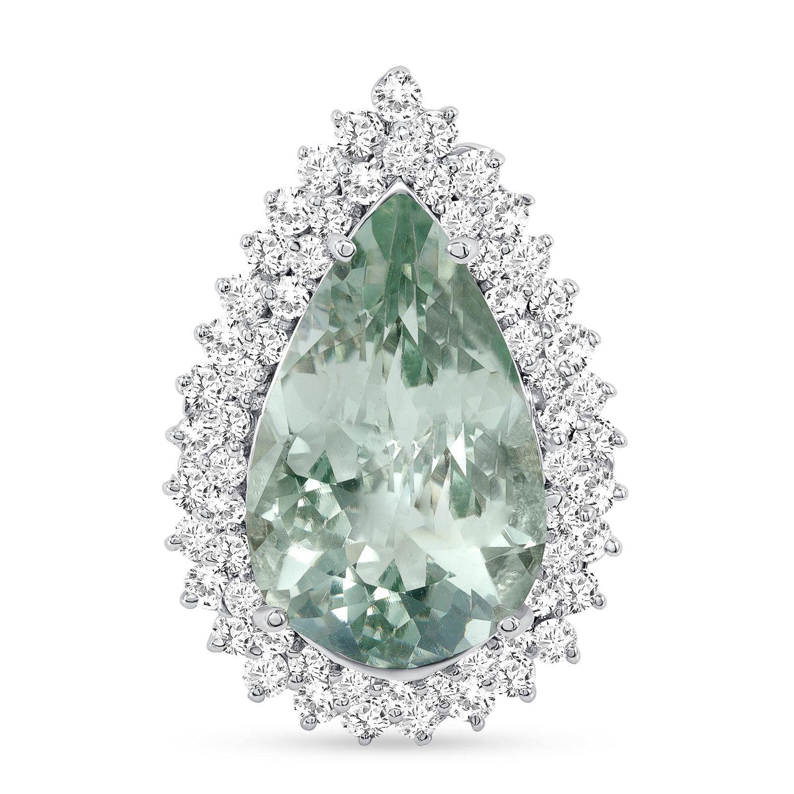 10.52ct Pear Green Amethyst & Diamond Ring