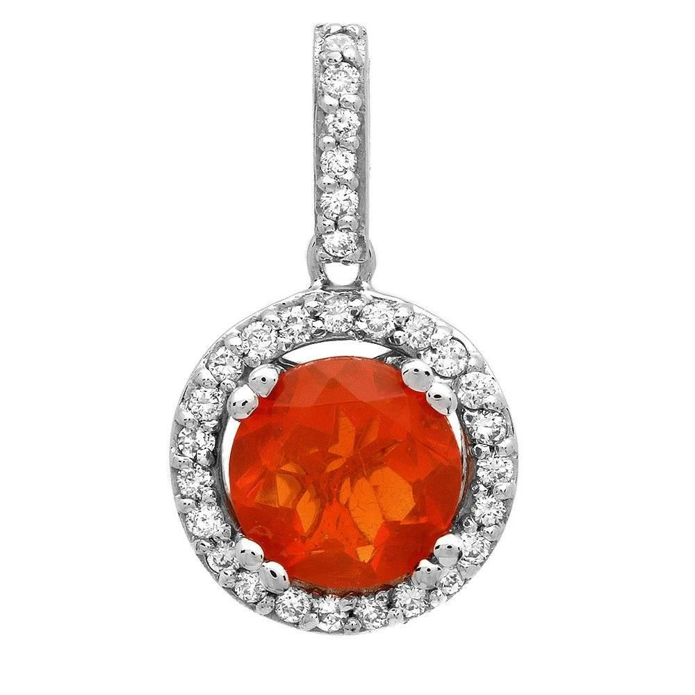 0.62ct Fire opal 14 K White Gold Pendant