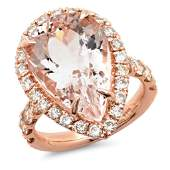 1086ct Morganite 14 K Rose Gold Ring