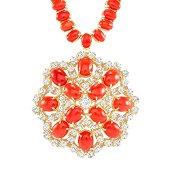 58.51ct Coral & diamond Necklace/Pendant