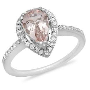 1.17ct Morganite 14 K White Gold Ring