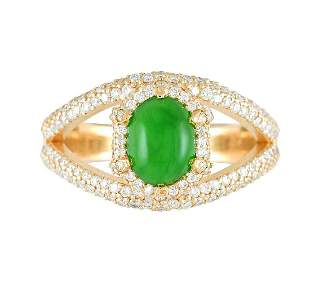 GIA 2ct About Imperial Jadeite Jade Type A 18K Yellow /
