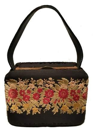 Vintage 1940s Bienen-Davis Floral Velvet Box Handbag