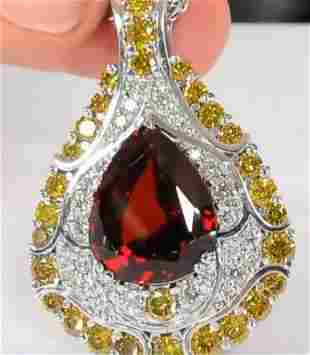 19.12ct Natural Malaya Garnet 14K White Gold Pendant