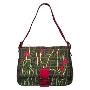 Fendi Floral Embroidered Beaded Monogram Zucca Print