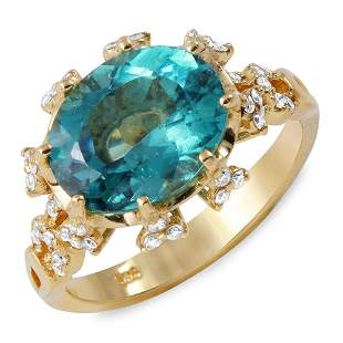 3.35ct Green Tourmaline 14 K Yellow Gold Ring