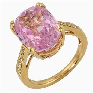 8.83ct Kunzite 14 K Yellow Gold Ring