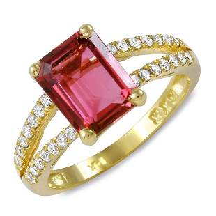 2.21ct Pink Tourmaline 14 K Yellow Gold Ring