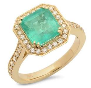 2.62ct Emerald 14 K Yellow Gold Ring