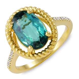 2.82ct Green Tourmaline 14 K Yellow Gold Ring