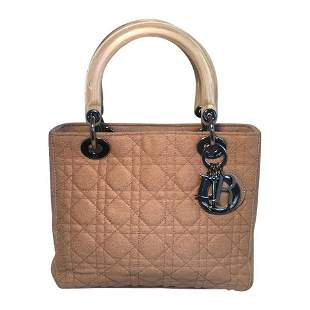 Christian Dior Tan Wool Cannage Quilted Medium Lady Di