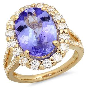 6.18ct Tanzanite 14 K Yellow Gold Ring