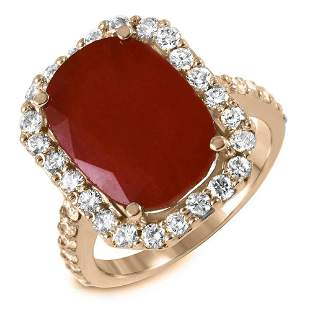 10.56ct Ruby 14 K Yellow Gold Ring