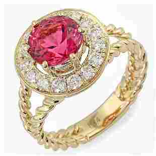 1.87ct Pink Tourmaline 14 K Yellow Gold Ring