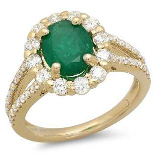 1.46ct Emerald 14 K Yellow Gold Ring