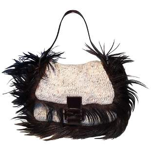 Fendi Cream Knit Crochet Long Fur Trim Baguette