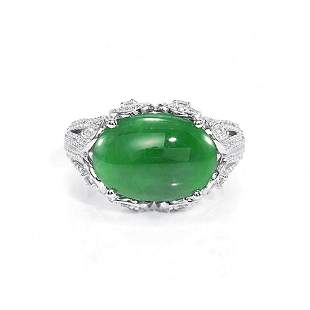 GIA 4.05ct Type A Imperial Jadeite Jade 18K White Gold