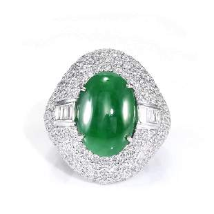 GIA 5.41ct Type A Imperial Jadeite Jade 18K White Gold