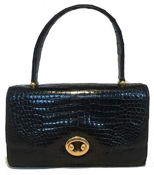 Hermes Vintage Black Alligator Handbag, circa 1960s