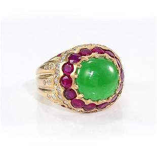 GIA 3.57ct Type A Imperial Jadeite Jade 18K Yellow Gold