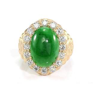 GIA 6.10ct Type A Imperial Jadeite Jade 18K Yellow Gold