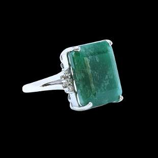 20.81ct NATURAL Emerald 14K White Gold Ring
