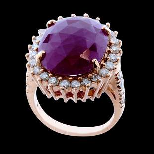 12.07ct Burma No glass NATURAL Ruby 14K White Gold Ring
