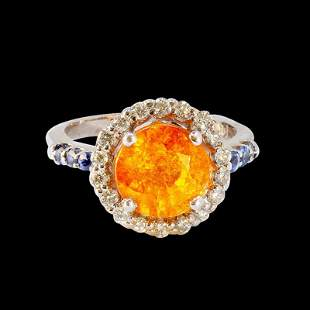 4.10CT NATURAL SPESSARTITE 14K WHITE GOLD RING