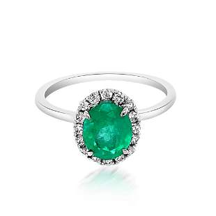 1.17ct Natural Emerald 14K White Gold 2.8gm Ring