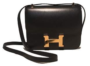 NEW Hermes 18cm Mini Black Box Calf Constance Shoulder