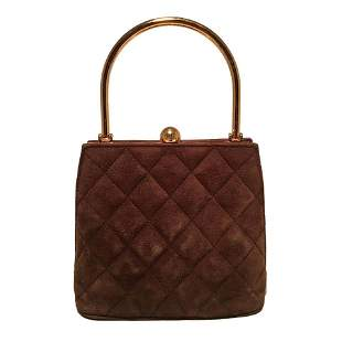 Chanel Vintage Brown Suede Gold Top Handle Small