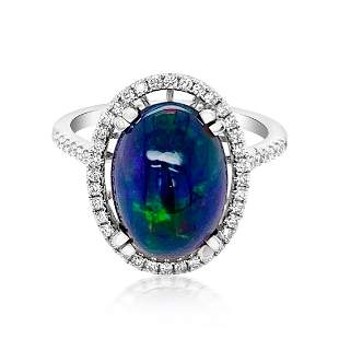 3.13ct Natural OPAL 14K White Gold 3.76gm Ring