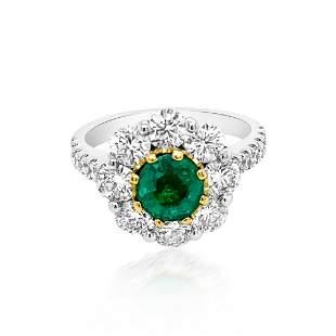 1.19ct Natural Emerald 14K White / Yellow Gold 5.6gm