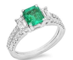 1.11ct Emerald 14 K White Gold Ring