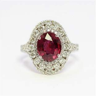 3.24ct NATURAL Ruby 14K White Gold Ring