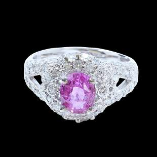 2.06CT NATURAL CEYLON PINK SAPPHIRE 14K WHITE GOLD RING