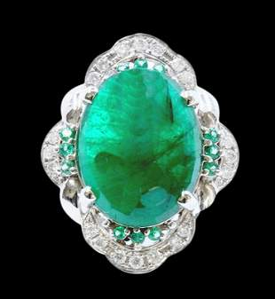 12.06ct NATURAL Emerald 14K White Gold Ring