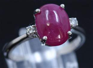 3.40ct NATURAL Ruby 14K white Gold Ring