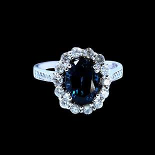 3.08CT NATURAL BURMA BLUE SPINEL 14K White GOLD RING