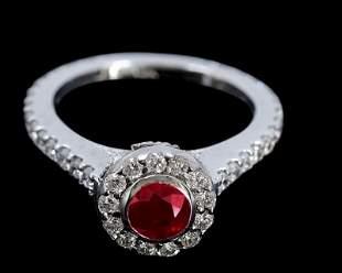 0.98ct NATURAL Ruby 14K White Gold Ring