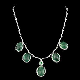 92.21ct NATURAL Emerald CAB 14K/18K White Gold Necklace
