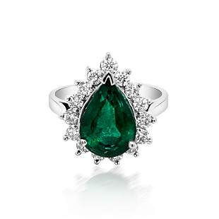 3.16ct NATURAL Emerald 14K White Gold Ring