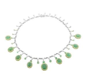 GIA Certified 32.37ct Natural Emerald 14k and 18k White