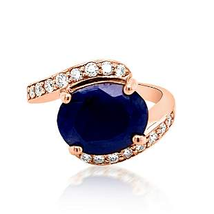 5.01ct NATURAL CEYLON Blue Sapphire 14K Rose Gold Ring